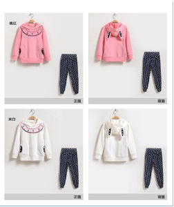 Ks61 New Best High Quality Fashion Children Suits Girls Suits Long Sleeve Two Piece Rabbit Ears Hooded Pullover Clothes pictures & photos
