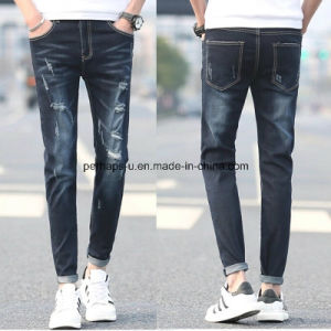 High Quality Men′s Retro Slim Pants Leisure Patch Ripped Jeans pictures & photos