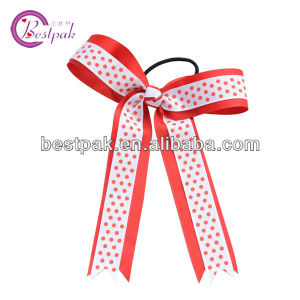 Handmade Print Ribbon Bow with Elastic