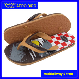 High Quality Male Footwear Slipper with Brown PVC Straps pictures & photos
