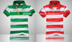 Cool Women Stripe Golf Polo Shirt pictures & photos