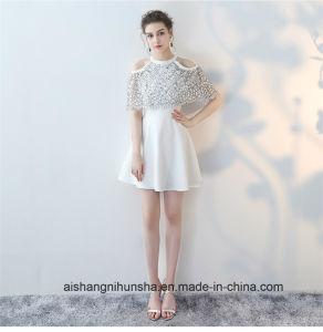 Short Chiffon with Lace Cut-out Cape Halter Elegant Dress pictures & photos