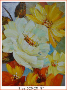Yellow and White Handmade Canvas Flower Oil Painting (LH-M170505) pictures & photos