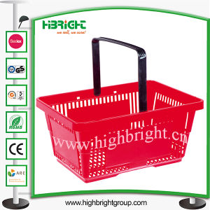 Single Handle Portable Plastic Shopping Basket for Supermarket pictures & photos