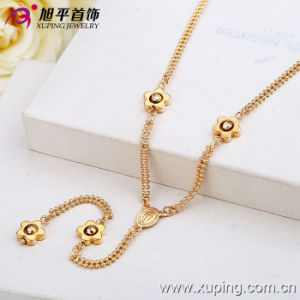 Fashion 18k Gold Color Women Neckalce with Flowers Jewelry (42420) pictures & photos