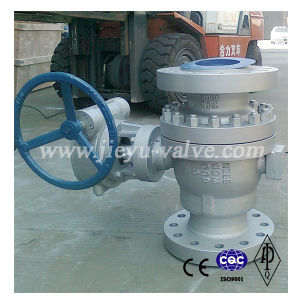 API6d Cast Body Carbon Steel Wcb 3pieces Flanged Trunnion Mounted Ball Valve pictures & photos