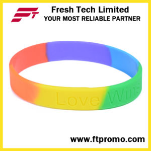 OEM Rainbow Sports Silicone Wristband with Logo pictures & photos