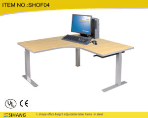Student Manual Height Adjustable Crank Tables/Desks Office Furniture Solid Table Ergonomic L Shaped Electric