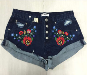 2016 Women Embroidery Fashion Denim Short Jeans