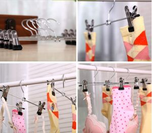 Clothes Trousers Skirt Socks Metal Bar with Anti Slip Clips Hanger pictures & photos