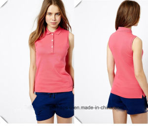 100% Cotton Pique Sleeveless Ladies Knit Polo Shirt pictures & photos
