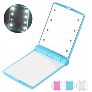 8 LED Makeup Mirror Mini Portable Foldable Mirror with Light pictures & photos