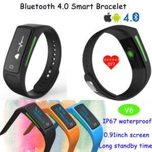 2017 OLED Display Heart Rate Monitor Wristband Bluetooth Smart Bracelet V6 pictures & photos