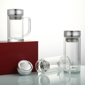 Glass Water Bottle with Stainless Steel Lidd pictures & photos