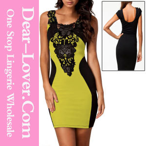 Yellow Sexy Lace Contrast Cocktail Party Evening Bodycon Dress pictures & photos