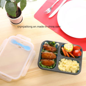 Silicone Lunch Box of 3 Compartments with Fork and Spoon