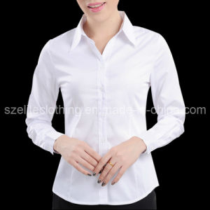 China cheap plain white button up collar shirts for ladies Cheap plain white shirts
