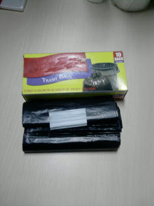 HDPE Black Plastic Garbage Star Seal Bag pictures & photos