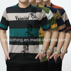 Wholesale 100% Cotton Stripe Fashion T-Shirt for Men pictures & photos