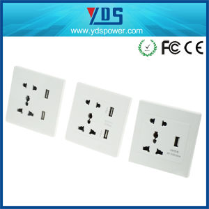 Universal Wall Socket 5V 110V-250V with Double USB Wall Socket pictures & photos
