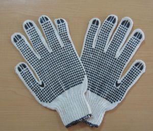 Bleach White, Black PVC DOT Glove pictures & photos