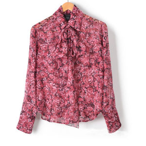 Ladies Chiffon Bow Tie Collar Shirt (XDL15012)