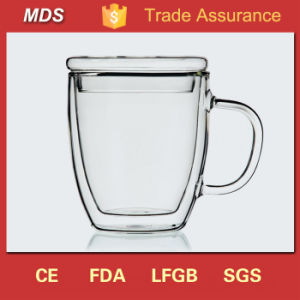High Borosilicate Double-Wall Glass Coffee Mug with Lid pictures & photos