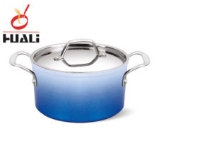 Soft Blue Aluminum Non-Stick Sauce Pot