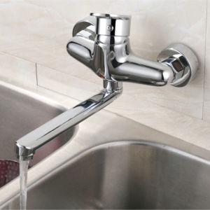 Brass Single Handle Wall Mount Kitchen Faucet Mixer in Chrome (33210)