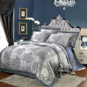 Sateen Cotton Blue Jacquard Quilt Cover Sets pictures & photos