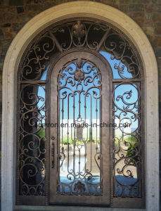 Exterior Design Wrought Iron Double Entry Doors with Tempered Glass pictures & photos