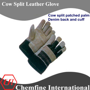 Cow Split Patched Palm, Denim Back and Cuff Leather Work Gloves pictures & photos