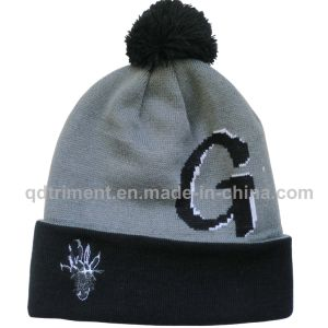 Jacquard Embroidery POM Cuff Acrylic Sport Winter Beanie (TMBK1441-1) pictures & photos