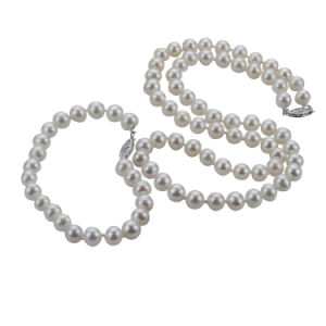 Snh 7mm Near Round White Pearl Jewelry Set