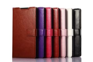 Business Luxury Flip Cover Leather Case for Sony Z3 with Card Slot and String Hole
