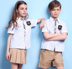 OEM High Quality Short Sleeves Patch School Uniform Cotton Shirt with Butttons for Boys and Girls pictures & photos