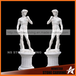 White Marble David Statue with Pedestal pictures & photos