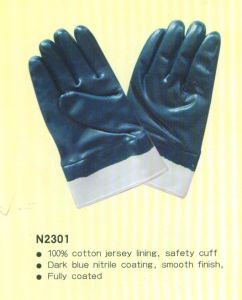 Nitrile Coating Gloves with Safety Cuff N2301 pictures & photos