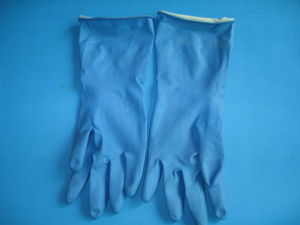 Blue Color Sprayed Flocked Line Latex Household Gloves pictures & photos
