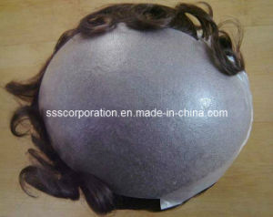 Clear Thin Poly Skin (skin graft) Looping Hair Toupee pictures & photos