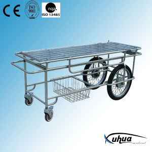 Stainless Steel Patient Transfer Trolley with Motorcycle Wheels (G-4) pictures & photos