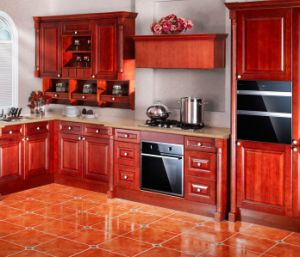 American Style Solid Wood Kitchen Cabninets Glossy Finished Furniture Cabinet pictures & photos