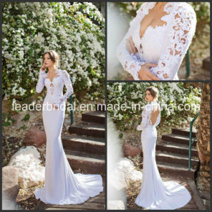 Hollow Back Bridal Wedding Dress Fashion Vestidos Long Sleeves Wedding Gowns Ld11531 pictures & photos