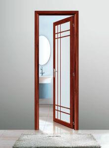 55 Series Wooden Color Aluminum Casement Bathroom Door