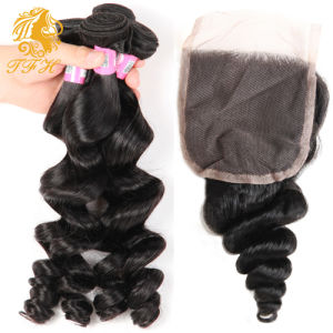 7A Peruvian Virgin Hair with Closure Hair Bundles with Lace Closure 3PCS Loose Wave with Peruvian Lace Closure Cheap Human Hair pictures & photos