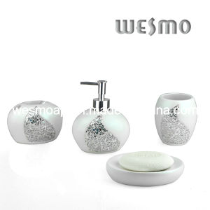 Polyresin Bathroom Accessory with Glass Pieces Decoration (WBP0307A) pictures & photos