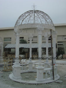 Antique White Carrara Qu Yang Stone Sculpture Marble Gazebo (SY-G002) pictures & photos