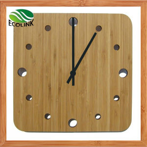 Home Decoration Square Bamboo Wall Clock pictures & photos