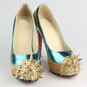 Fashion High Heeled Studded Ladies Dress Shoes (Hcy02-656) pictures & photos