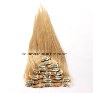 Clip in Human Hair Extensions Brazilian Straight Human Hair Clip in Extensions pictures & photos